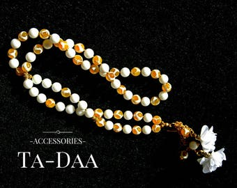 Yellow White Agate Jade Necklace Fabric Flower Pendant