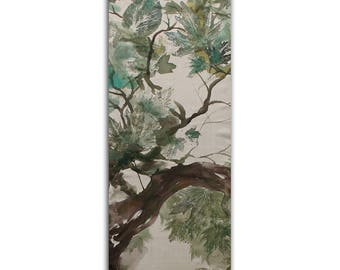 Jay, painted on a khaki silk scarf, earth colors, eco print with hand printed alive leaves, eco friendly, bird in a forest landscape, zen