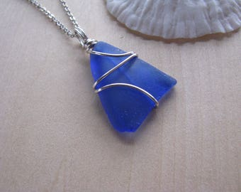 Cobalt Blue Sea Glass Pendant Royal Blue Beach Glass Necklace