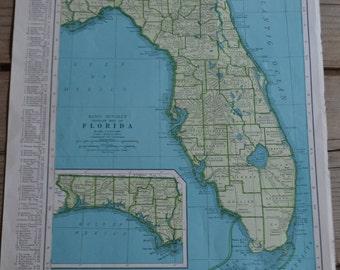 Florida State World Map Vintage Print