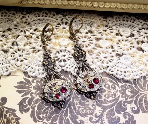 JULY Steampunk Earrings PINK RUBY SteamPunk Watch Earrings Antique Brass Steampunk Wedding Victorian Steampunk Jewelry VictorianCuriosities
