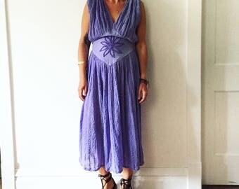 Vintage Cotton Gauze Grecian Sun Dress  , Cotton Midi Dress