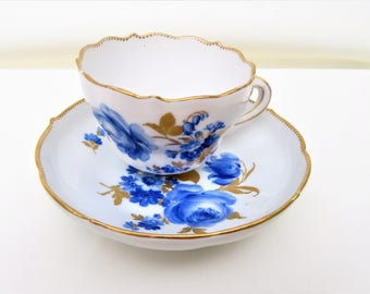 Vintage Meissen Porcelain | Blue White Meissen | Teacup Set | Cup and Saucer | Blue Gold Porcelain | Cup Holder