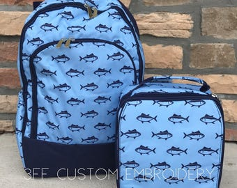Boys Blue Fish Backpack and Lunchbox with FREE Monogram or name, Back to School, Boys Backpack and Lunchbox Set