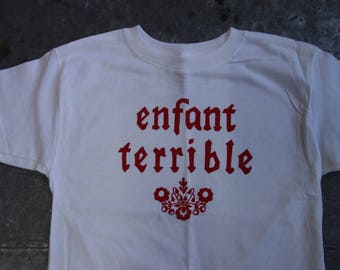 enfant terrible - wild child silkscreen tshirt for kids- size YS