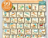 ROUTINE CARD BUNDLE | 99 Printable Routine Cards and Chart | Morning, Afternoon, Bedtime, Before School, After School, Extras | Orange