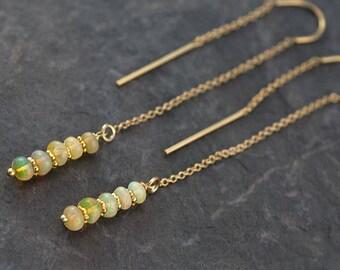 Ethiopian Opal Earrings - Ear Thread Earrings - Ear Threader - Minimal Jewelry - Long Gold Dangle Earring - October Birthstone Jewelry