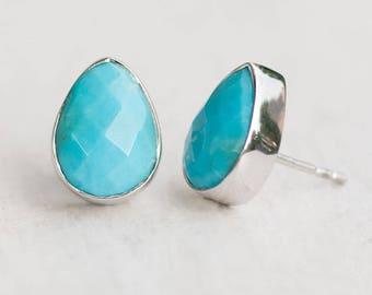 Blue Turquoise Studs - Post Earrings - Gemstone Studs - December Birthstone Studs - Tear Drop Studs - Silver Studs