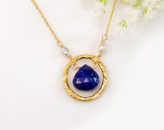 September Birthstone Necklace, Lapis Lazuli Gemstone Drop Pendant, Gold Birthstone Necklace, Birthstone Gift for Her, Simple Stone Necklace