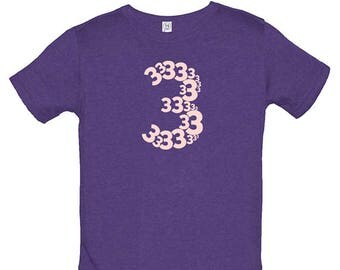 Birthday Shirt - 3 year old shirt - 3rd Birthday - Number Shirt - Birthday Girl - Party - Kids Tshirt Size 4 - Gift Friendly