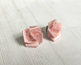 Origami Rose Earrings // Light Pink Shimmer