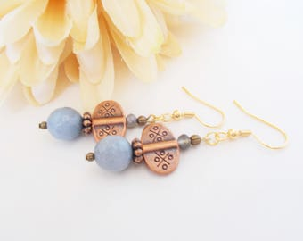 Gray Agate Earrings, Copper Anniversary Gift for Wife, Beaded Dangle Earrings Clip On, Gift for Mom, Mothers Day Gift for Her, Sister Gift