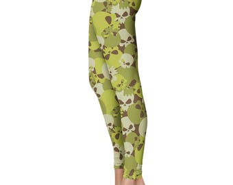 Skull Camo Leggings, Capris or Yoga Pants • Army Green • You Can Request Custom Color
