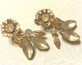 Vintage Frosted White Clear Rhinestone Floral Ear Climber Clip Earrings
