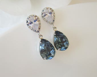 Bridal Earrings, Blue Bridal Jewelry, Bridesmaids Earrings, Navy Blue Earrings, Swarovski Crystal Earrings, Something Blue, Blue Bridesmaid