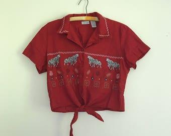 1990s linen lipstick red zebra motif cropped tie blouse - large