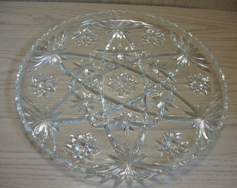 """Anchor Hocking  Early American Prescut Crystal Serving Cake Sandwich Tray 13 1/2""""  Wide Star Of David 1940-60"""