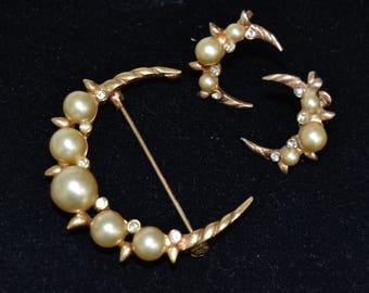 Vintage Brooch and Screw-Back Earrings Set of Crescent Moons with Faux Pearls and Rhinestones