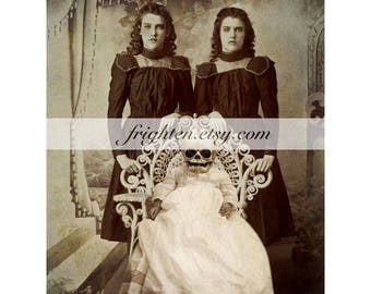 Creepy Halloween Wall Art, Gothic Victorian Twins with Skull Baby Mixed Media Collage 8.5 x 11 inch Print