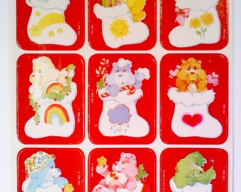 Vintage Care Bears Christmas Stickers, 1 Sheet