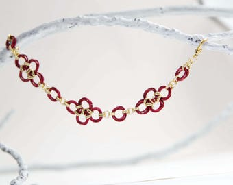 Red and Gold Royal Chainmaille Bracelet