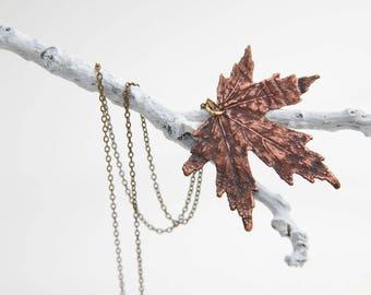 Real Maple Leaf Electroformed Necklace