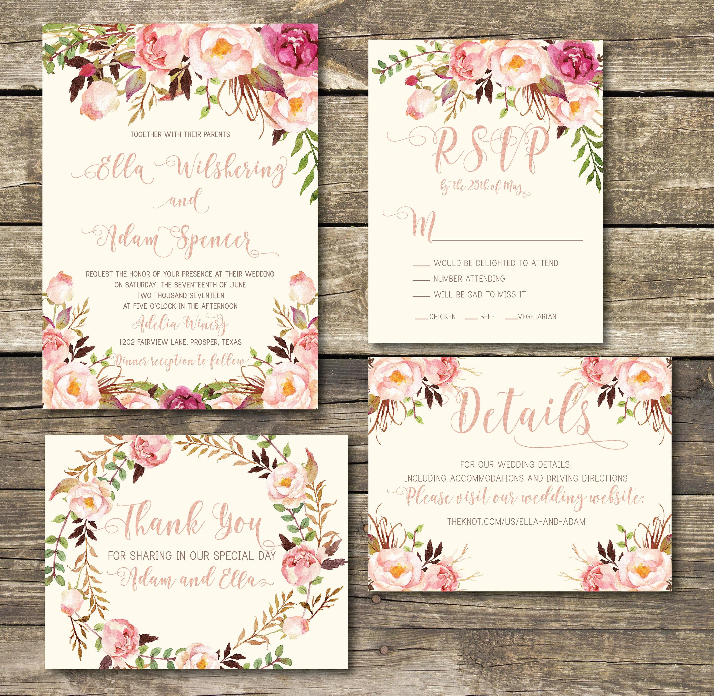 Gold And Blush Wedding Invitations: Rose Gold Printed Wedding Invitation Rose Gold / Blush