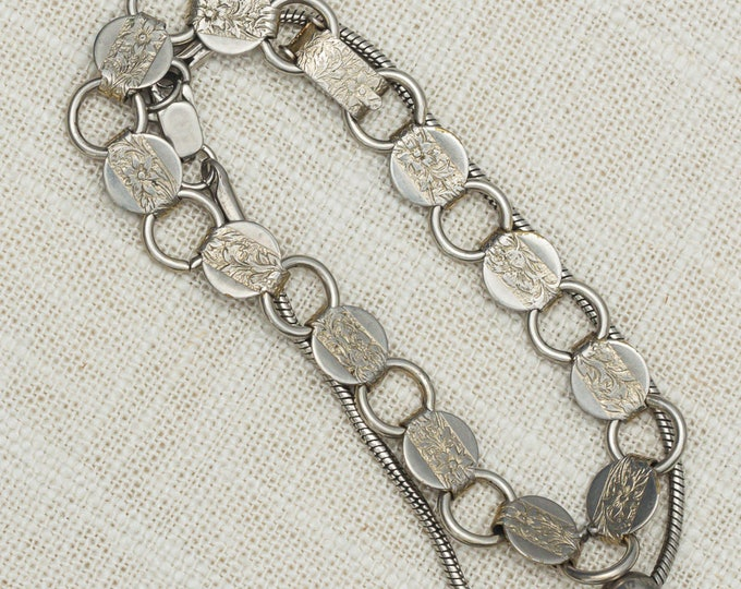 Vintage Silver Bracelets Set Snake Chain Bead Etched Round Links Sarah Coventry Costume Jewelry 7OO