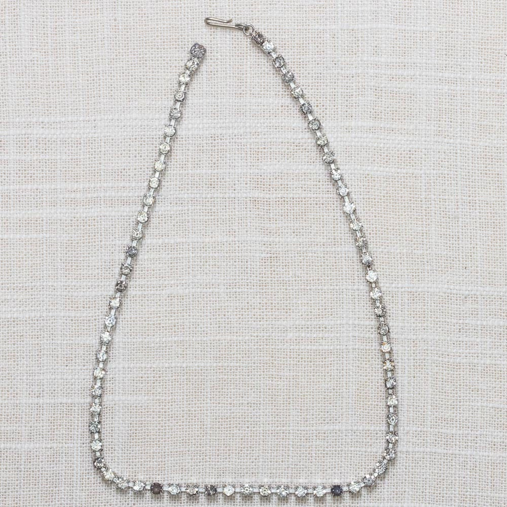 Vintage Rhinestone Necklace Dainty Simple Crystal & Silver Costume ...