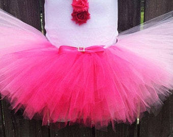 Pink Ombre Tutu with Matching Headband