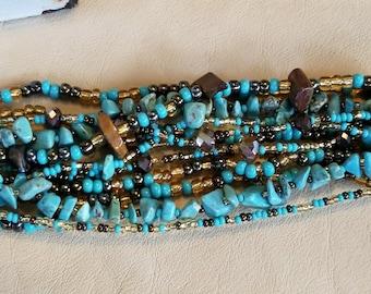 Multi strand bracelet Turquoise, Tiger eye