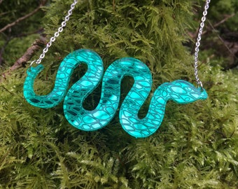 Laser Cut Acrylic Mirror Snake Statement Acrylic Necklace