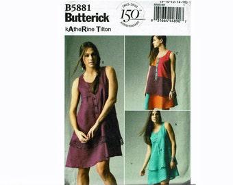 Katherine Tilton Summer Dress Asymmetrical hem Uncut OOP Sewing Pattern Butterick 5881 Sizes 8 10 12 14 16 or 16 18 20 22 24