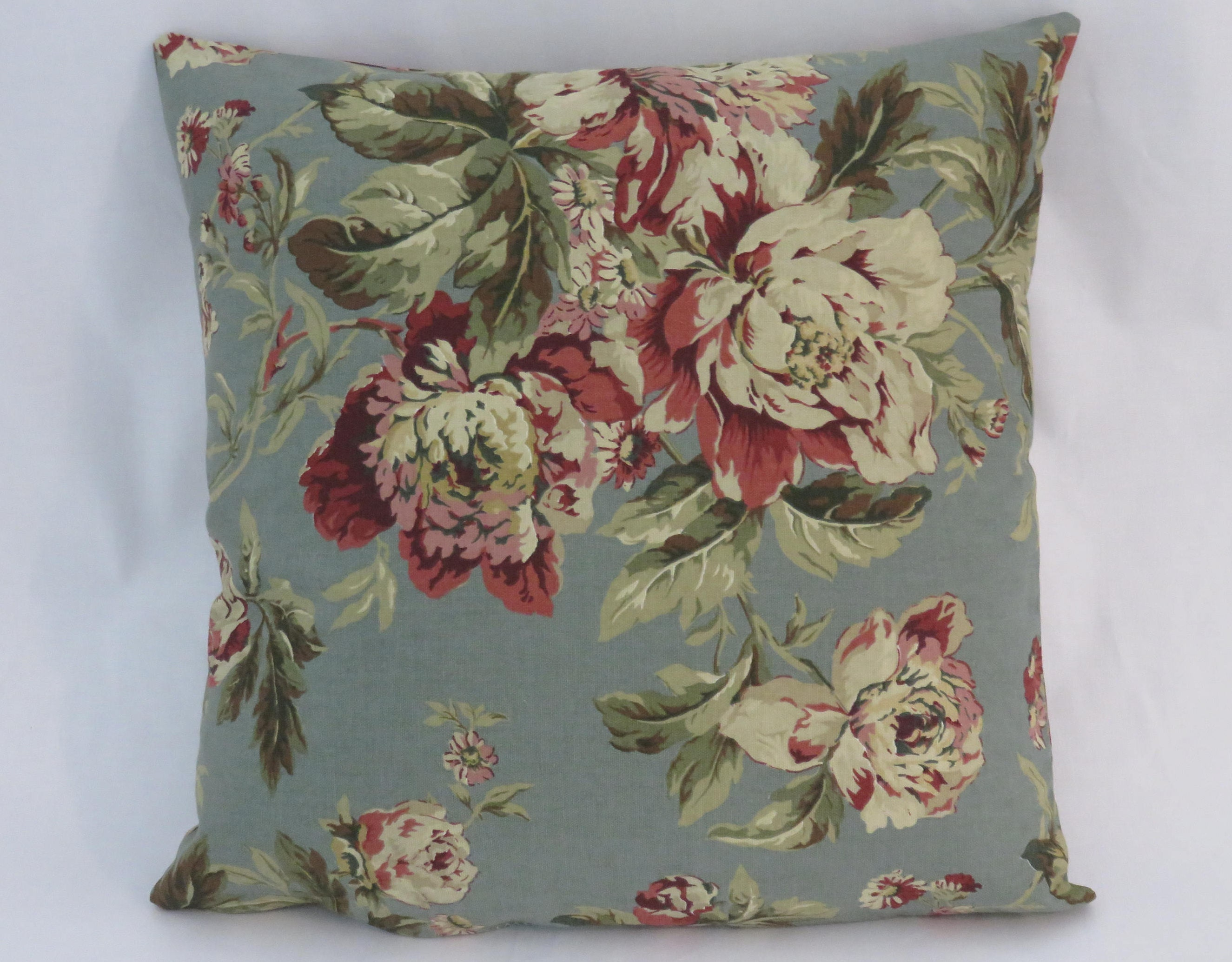 Teal And Maroon Floral Pillow Waverly Fleuretta In Bayberry