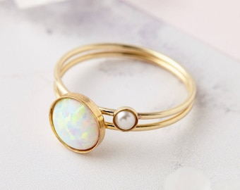 14k Gold Filled Stacking Rings - Skinny Gold Rings, Opal Ring, Minimalist Ring, Pearl Ring, Delicate Stacking Ring, Gold Rings, Gold Filled