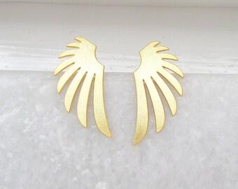 Gold Ear Studs - Angel Wings, Stud Earrings, Gold Wing Earrings, Small Earrings, Gifts for her, Minimalist Earrings, Minimalist Jewellery