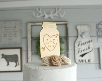 Mason Jar Cake Topper Rustic Wedding Cake Topper Wood Cake Topper Rustic Bridal Shower
