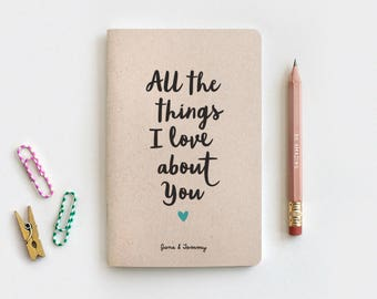 Valentines Day Gift for Him, Wedding Gift for Her, Reasons I Love You Notebook & Pencil - Recycled Journal - All the Things I Love About You