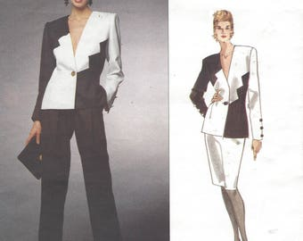 1990s Givenchy Womens Dramatic Color Block Jacket, Skirt & Pants Vogue Sewing Pattern 1082 Size 12 Bust 34 Vogue Paris Original Pattern