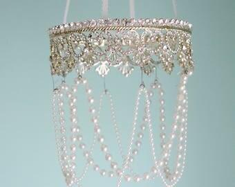 Crown Nursery Mobile Pearl Chandelier Rhinestone Bling Diva Crystal Princess Sparkling Dazzling Tiara Jeweled Silver Baby Little Girl Crib