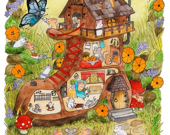 Mouse house cross section print