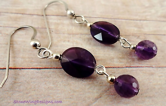 Faceted Oval Amethyst Drop Earrings, February Birthstone