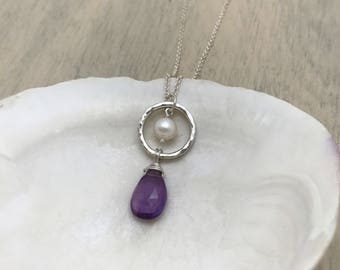Amethyst and Pearl Sterling Silver Circle Necklace