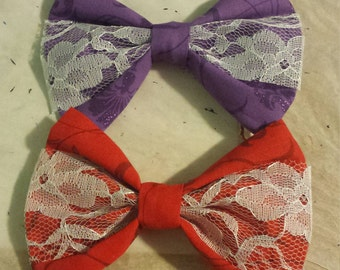 Floral Cloth and Lace Bows