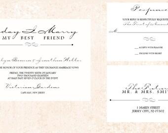 Simple Wedding Invitation - Printable - Elegant Wedding Invitation - Black and White and Blush Invitation