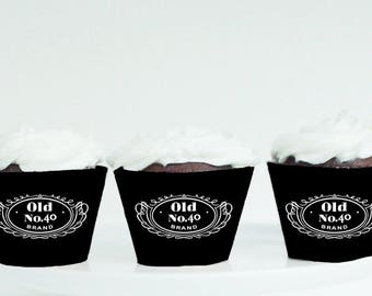 Jack Daniels Cupcake Wrappers, 40th Birthday, 40th Birthday decor, Jack Daniels decor, Jack Daniels party, Old No.40