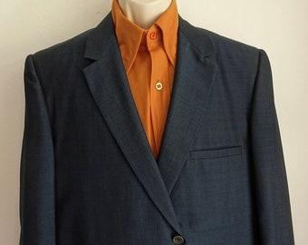 60s Navy Sharkskin Dinner Jacket/ Sleek Blue-Black Sharkskin Jacket/ 42 Reg Vintage/ 2 Button Blazer/ Rat Pack, Palm Beach/Mens Vintage/ 60s