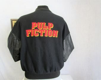 90s L Pulp Fiction Leather Sleeves Baseball Jacket Black Alliance Video Promo