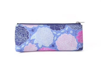Slim Pencil Case, Bright Peony Floral Print, Original Fabric Design, Ditzy Print, Bumblebee Pattern, Small Makeup Case, Floral Zip Pouch