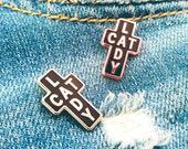 Cat Lady ~ Purrfect Pin ~ Cat Lady Cross Enamel Lapel Pin